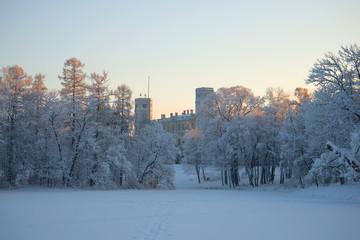 January dusk at the Gatchina Palace. Gatchina, Russia