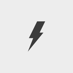 Lightning icon in black color. Vector illustration