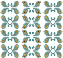 Seamless pattern with cute blue birds. Vector illustration.