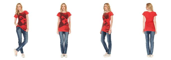 Full length portrait of beautiful woman in  jeans