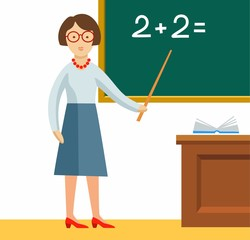 The teacher, colored picture, vector. The teacher shows on the Board a math problem.
