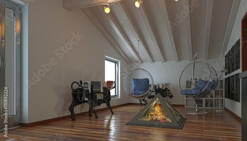 mansarda, monolocale, interior design, arredamento, rendering ... - Arredamento Interior Design