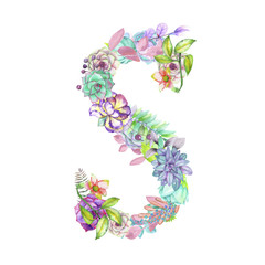 Capital letter S of watercolor flowers, isolated hand drawn on a white background, wedding design, english alphabet for the festive and wedding decor and cards