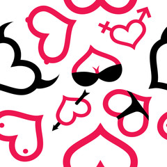 Love and sex seamless pattern