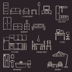 Vector hand drawn home furniture outline icons on blackboard 2