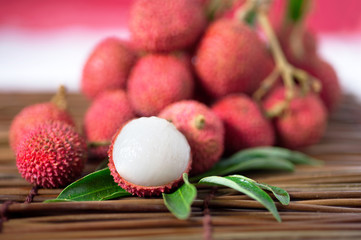 stack lychee on mat