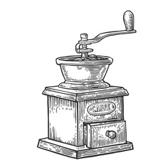 Coffee mill. Hand drawn style.