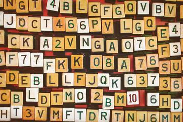 Vintage letter and number jukebox buttons