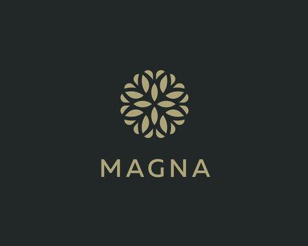 Abstract elegant tree leaf flower logo icon design. Universal creative premium symbol. Graceful jewel boutique vector sign.