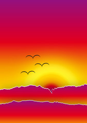 Quadro arte moderna - Paesaggio al tramonto