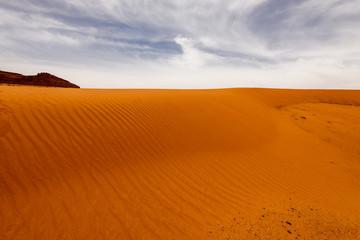 Sand dunes under dramatic  sky, Wadi Rum, Jordan. concept of global warming.