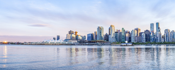 Vancouver skyline at sunset panoramic view Wall mural