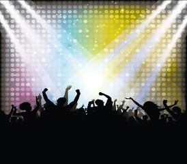 Music festival or party creative design with dancing people and glowing lights