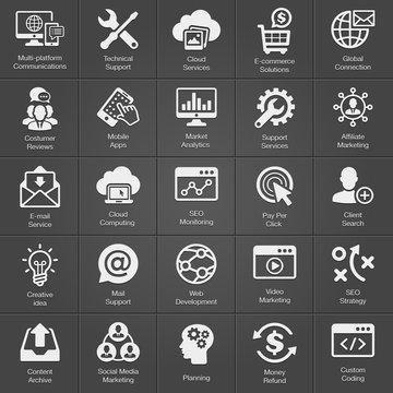 SEO and Development icon set on black