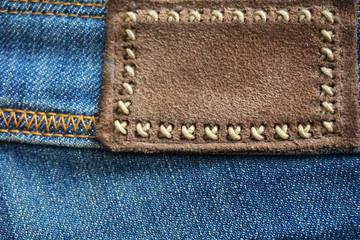 Denim label, close up