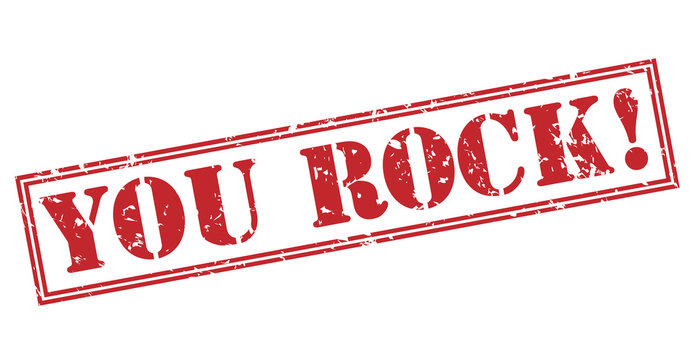 you rock! red stamp on white background