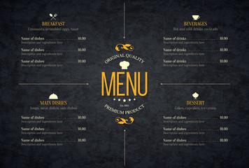 Restaurant menu design. Vector brochure template for cafe, coffee house, restaurant, bar. Food and drinks logotype symbol design. Vintage background Wall mural