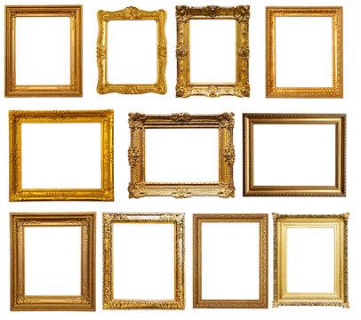 gold frames. Isolated over white