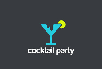 Cocktail Silhouette Logo design vector template Negative space...Alcoholic drinks concept Logotype icon.