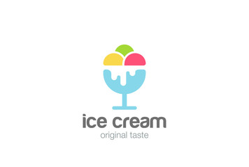 Ice cream Logo design vector template Negative space style...Gelato Logotype concept icon silhouette.