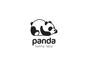 Panda bear silhouette Logo design vector template...Funny Lazy animal Logotype concept icon.