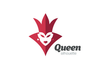 Royal Queen Woman silhouette Logo design vector template...Female Crown Negative space Logotype concept icon.