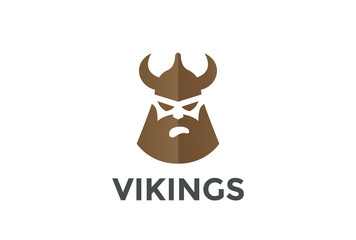 Viking Head in Helmet silhouette Beer Pub Logo design vector template...Ancient Warrior Logotype concept icon Negative space style.