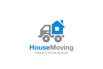 Home service Logo design vector template...Moving House by Car Logotype concept icon.