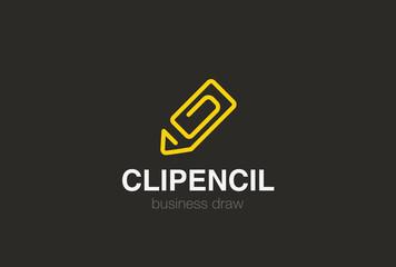 Pencil as Clip Logo design vector template Linear style...Draw Logotype abstract concept icon.