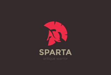 Sparta Warrior Helmet antique Logo design vector template...Spartan ancient Logotype concept icon.