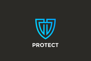 Security Agency Shield Logo design vector template linear style...Attorney Looped Lines Lawyer Legal Protection Logotype. Law concept icon.