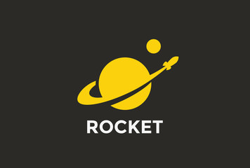 Rocket Planet Logo abstract design vector template Negative space style...Startup Logotype concept icon