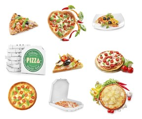 Collage of different pizzas isolated on white