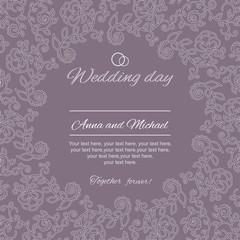 Postcard greetings. Wedding invitation.