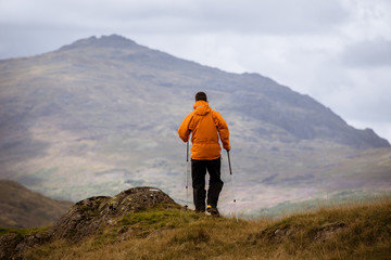 Rear view of young male hiker looking out to mountain, The Lake District, Cumbria, UK