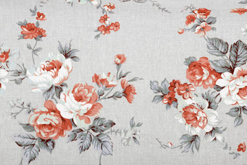 vintage style of tapestry flowers fabric pattern background