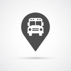 Bus marker pin icon for map. Vector