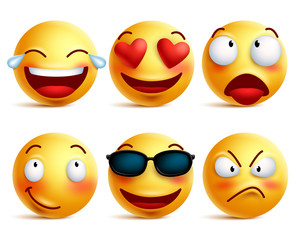 Smiley face icons or yellow emoticons with emotional funny faces in glossy 3D realistic isolated in white background. Vector illustration