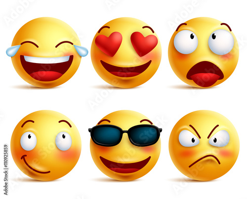 Smiley Face Icons Or Yellow Emoticons With Emotional Funny Faces In