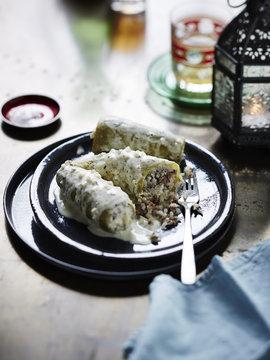 Kossa Mihsh Bi Laban (stuffed zucchinis cooked in yogurt)
