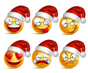 Set of Smiley face of santa claus yellow emoticons with facial expressions and christmas hat in glossy 3D realistic isolated in white background. Vector illustration