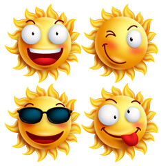 Set of sun character with funny facial expressions in glossy 3D realistic for summer isolated in white background. Vector illustration