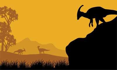 At the morning parasaurolophus silhouette in hills