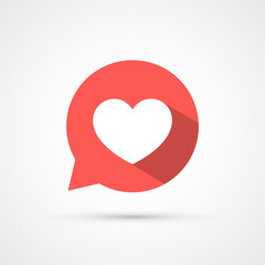Flat heart in speech bubble shadow icon. Vector