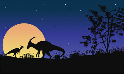 At night parasaurolophus silhouette with moon