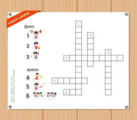 Crossword, education game for children about sports