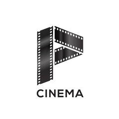 Abstract letter P logo for negative videotape film production