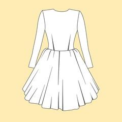 Women dress design. Fashion Flat templates Sketches