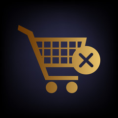 Shopping Cart and X Mark Icon, delete sign