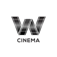 Abstract letter W logo for negative videotape film production